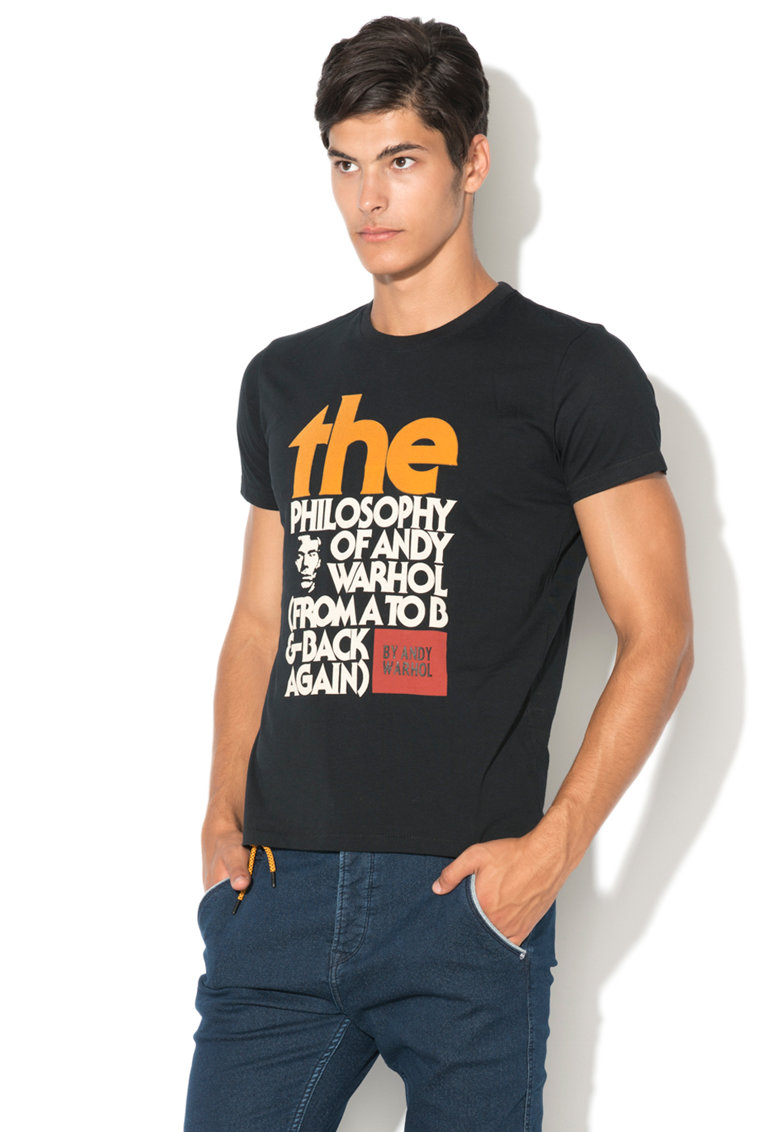 Andy Warhol by Pepe Jeans Tricou cu imprimeu text
