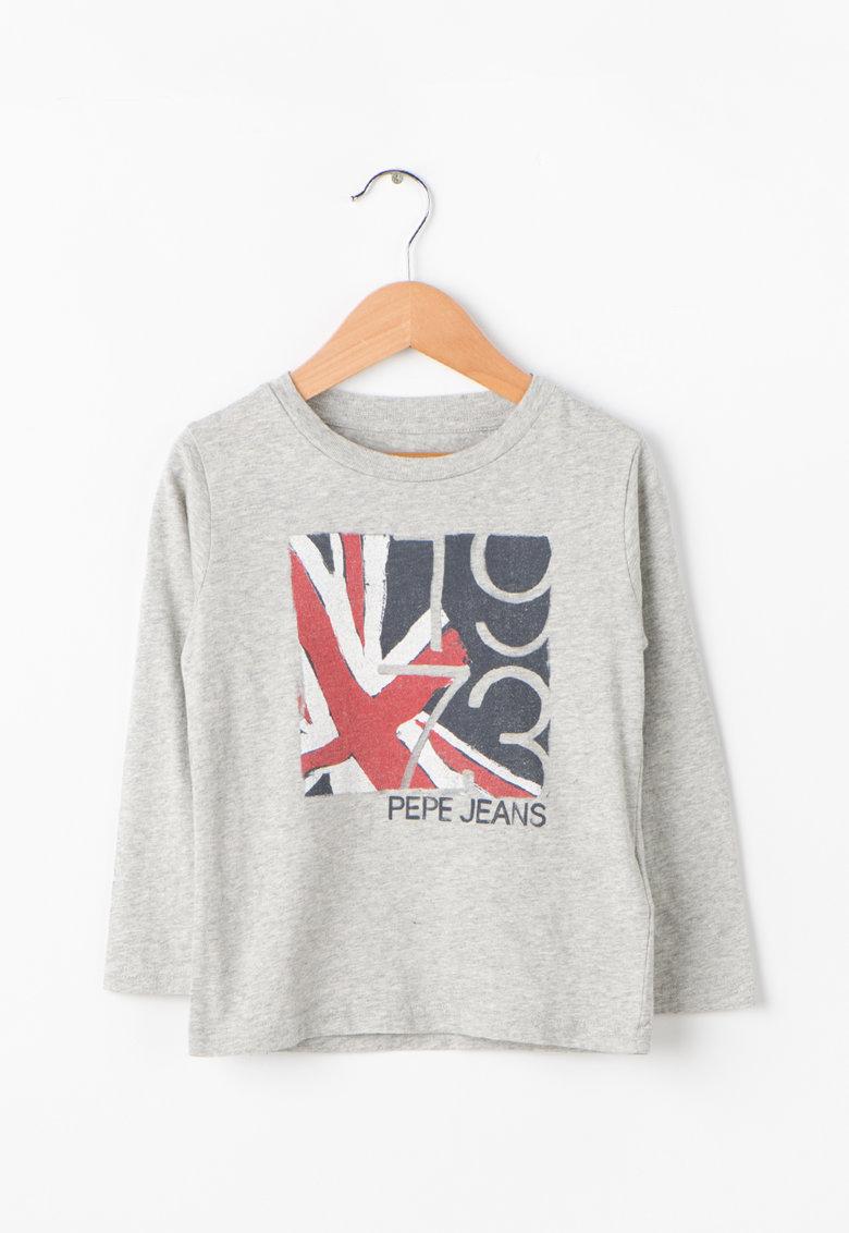 Pepe Jeans London Bluza cu maneci lungi si imprimeu grafic Justin Jr