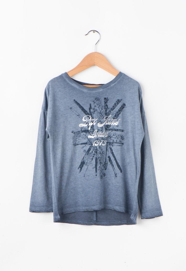 Pepe Jeans London Bluza cu imprimeu si terminatie rotunjita CLEMENTINE