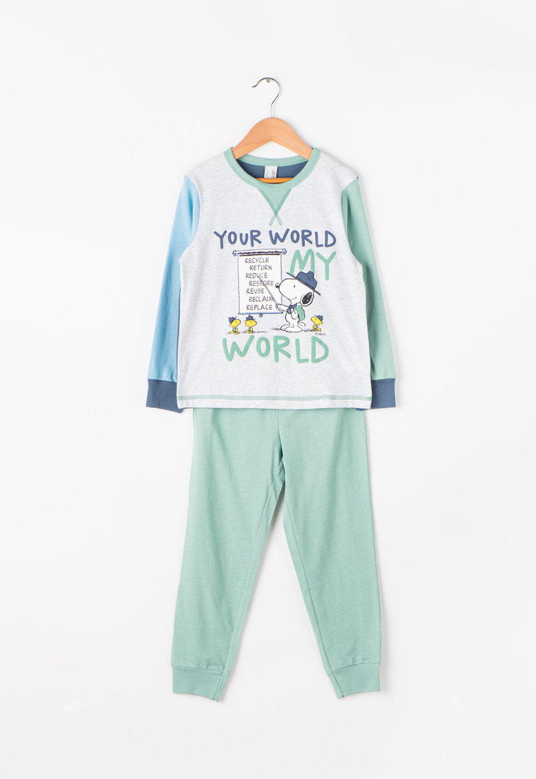 Undercolors of Benetton Pijama cu maneci lungi si model text