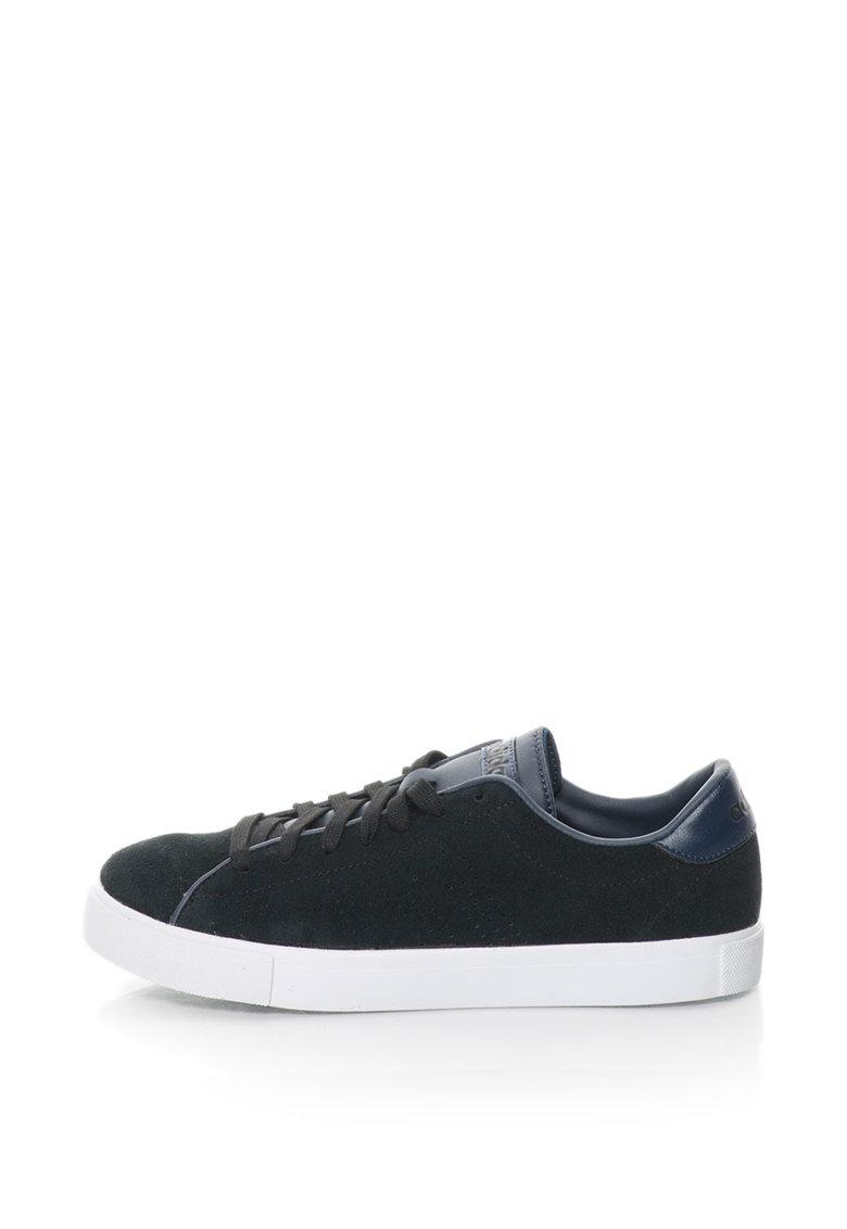 adidas NEO – Pantofi sport de piele intoarsa Daily Line – Negru/Bleumarin