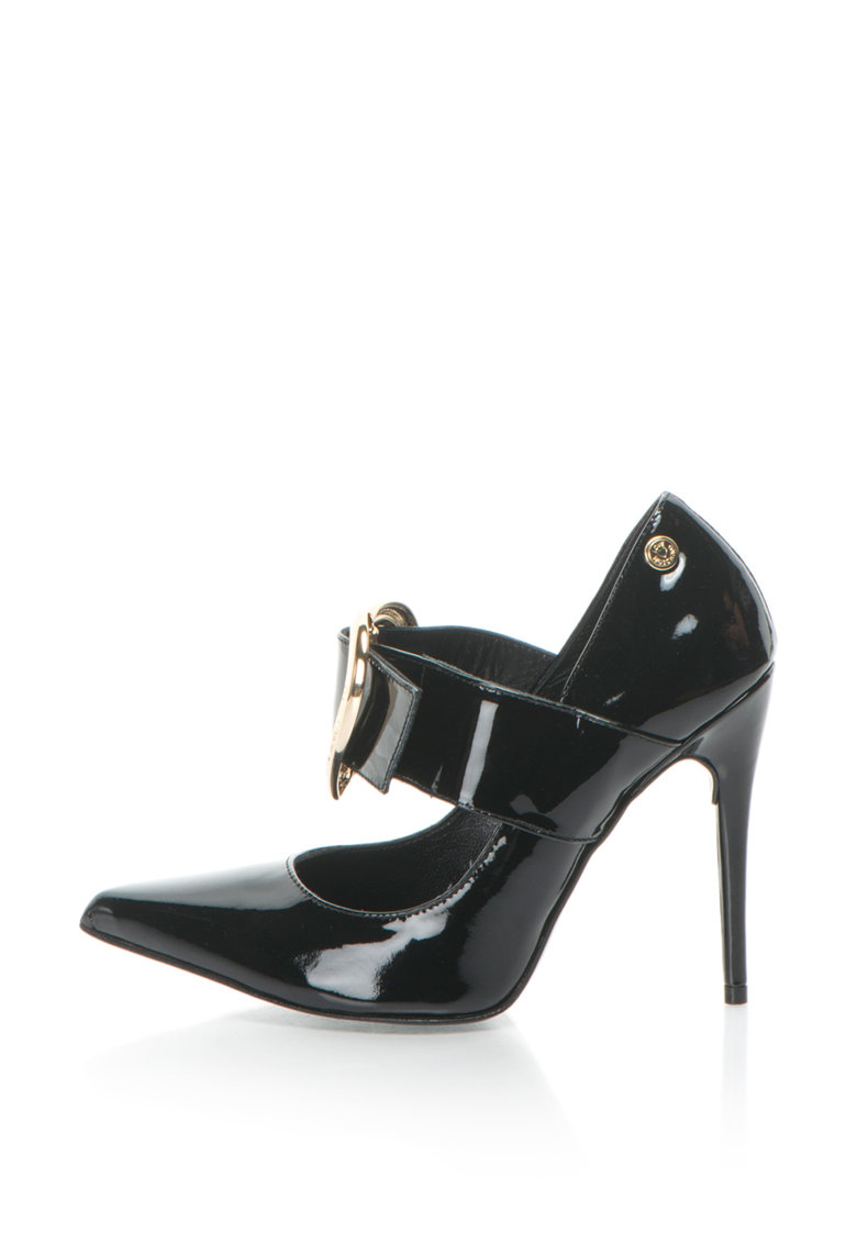 Love Moschino Pantofi Mary Jane de piele lacuita – cu varf ascutit si catarama supradimensionata in forma de inima