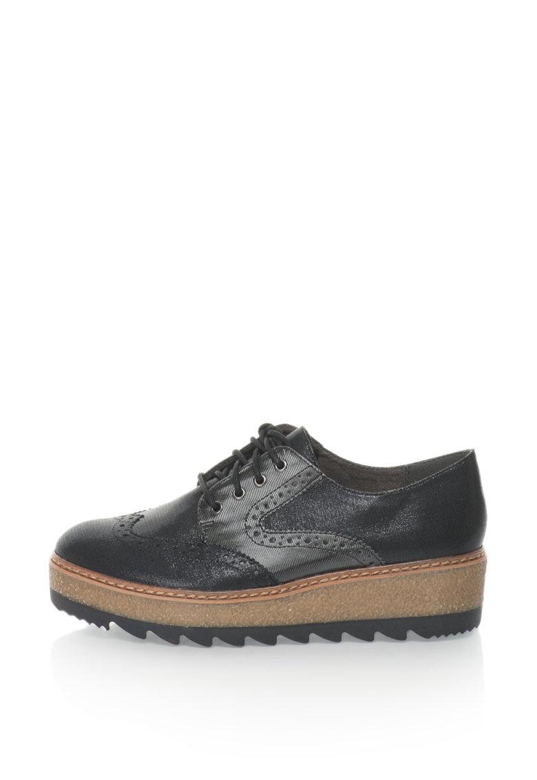 Tamaris Pantofi derby brogue flatform cu aspect stralucitor
