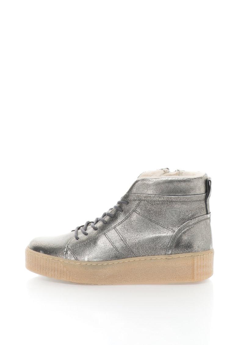 Tamaris Pantofi sport flatform de piele