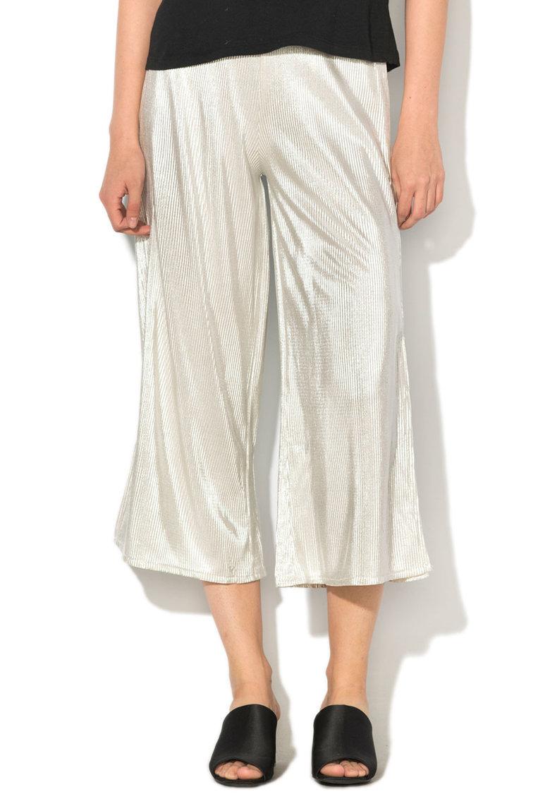 Pantaloni culotte cu pliuri si talie inalta