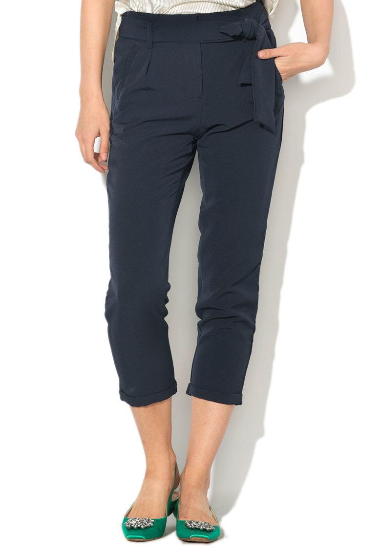 Pantaloni crop conici cu cordon