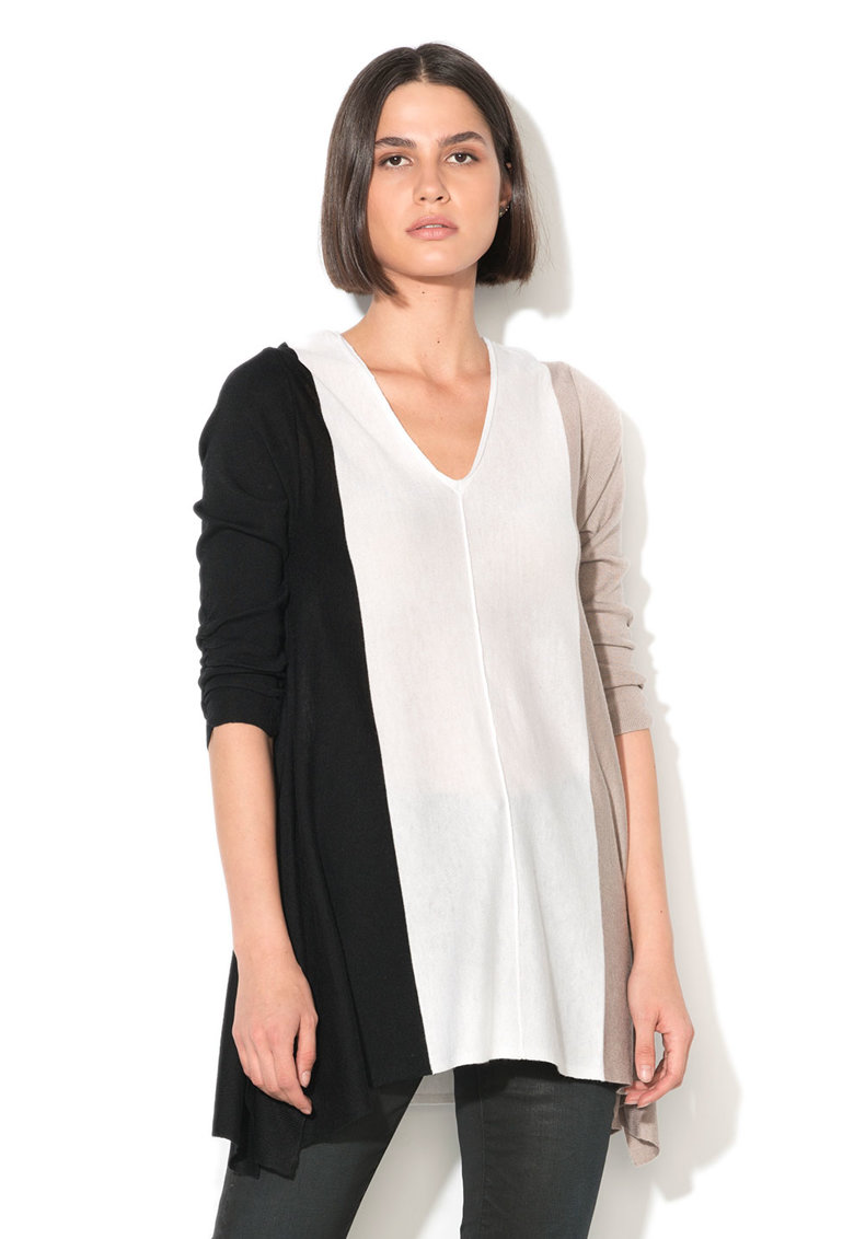 Pulover din tricot fin cu maneci cu insertii elastice Parta