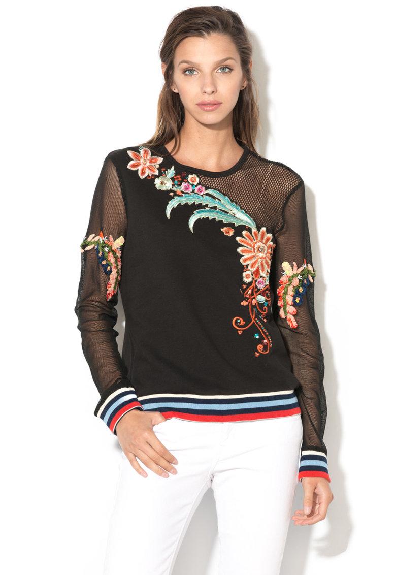 DESIGUAL Bluza sport brodata cu insertii de plasa Brigitte