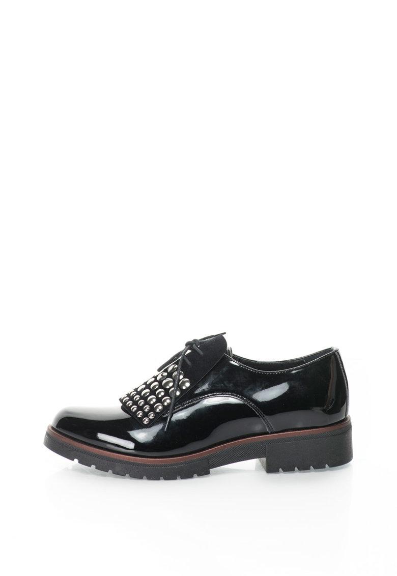 Zee Lane Collection Pantofi derby de piele lacuita cu aplicatie frontala decorativa