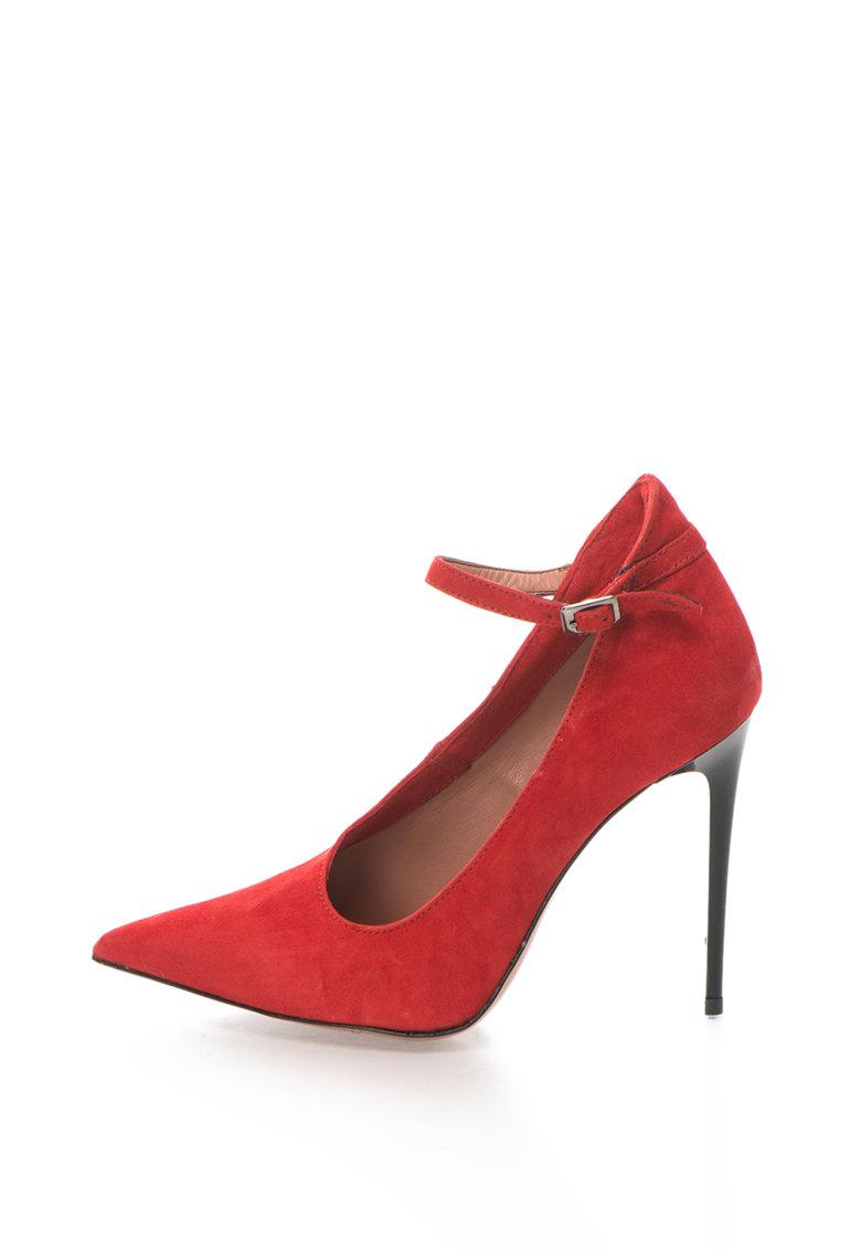Pantofi stiletto de piele intoarsa cu bareta pe glezna Denise de la Zee Lane – DENISE-41-SUEDE-ROSSO-ZNE