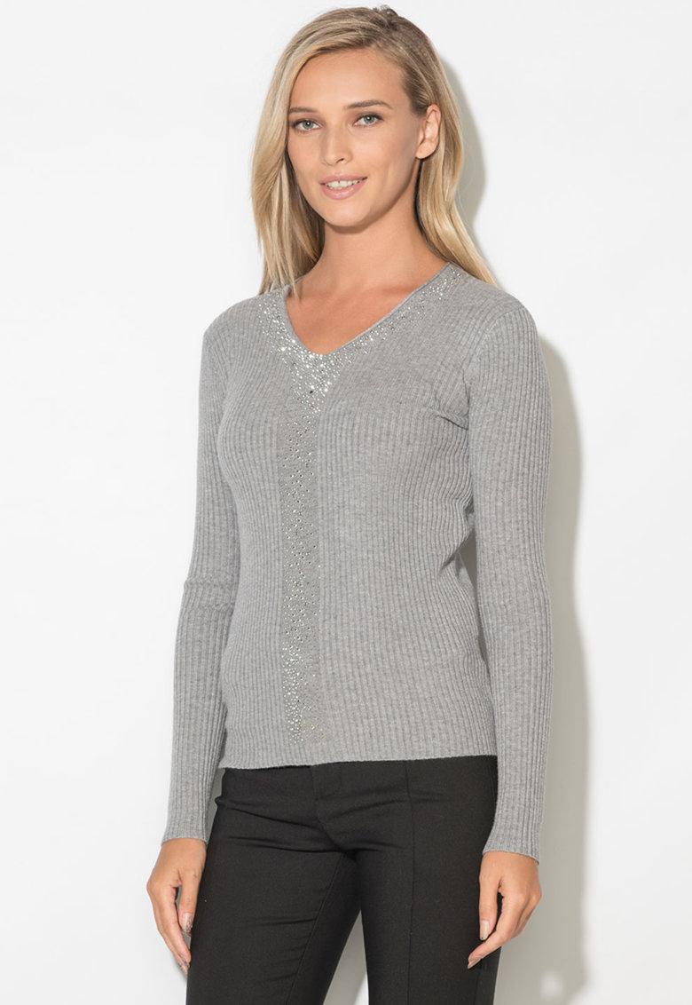 Zee Lane Pulover din tricot cu striatii si strasuri