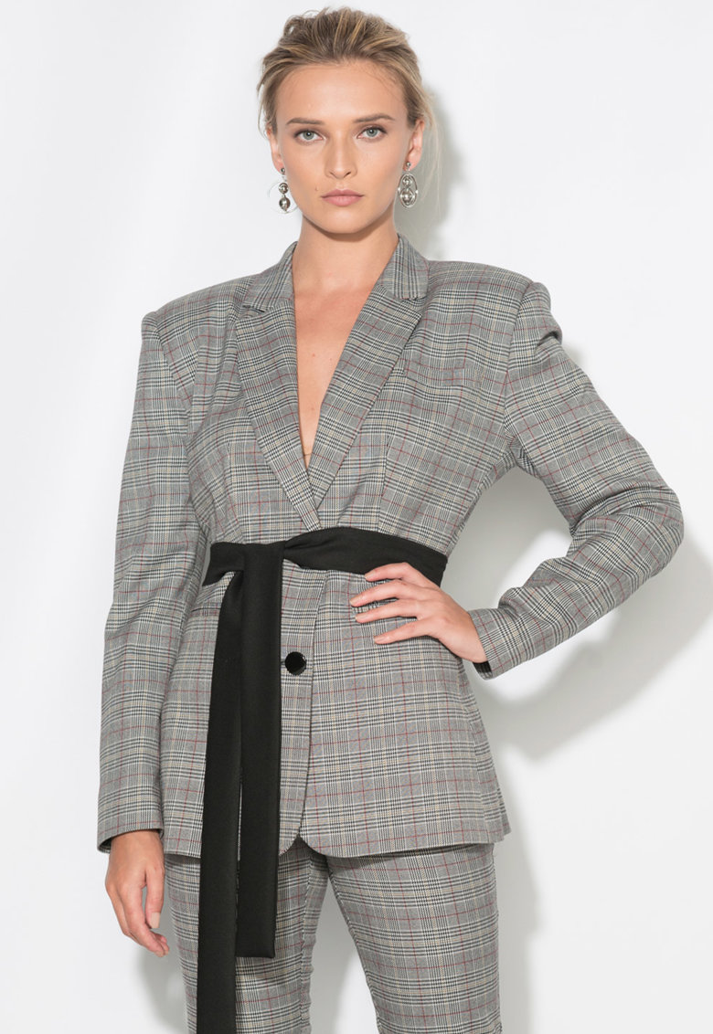 Zee Lane Collection Sacou cu model Houndstooth