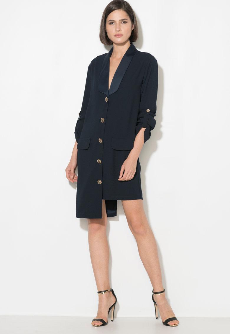 Rochie tip palton cu terminatie asimetrica Zee Lane Collection