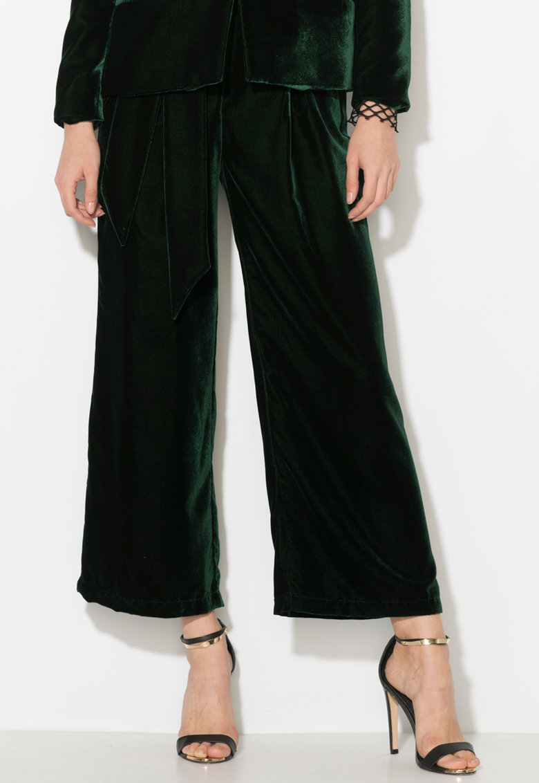 Zee Lane Collection Pantaloni culotte de catifea cu un cordon in talie