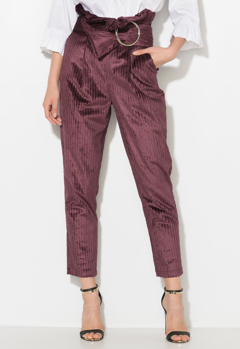 Zee Lane Collection Pantaloni crop din reiat cu volan in talie