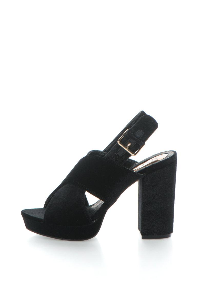 Sandale de catifea cu toc inalt si barete incrucisate