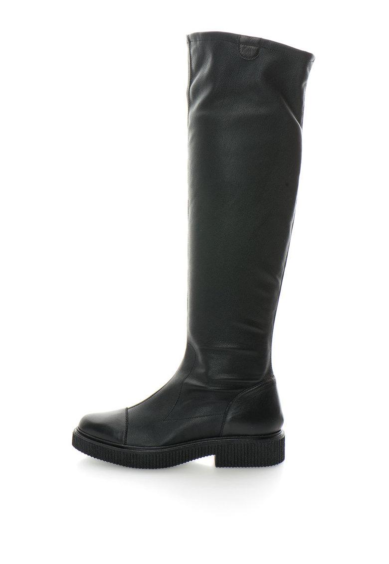 Cizme inalte pana la genuchi cu garnituri de piele de la Zee Lane Collection