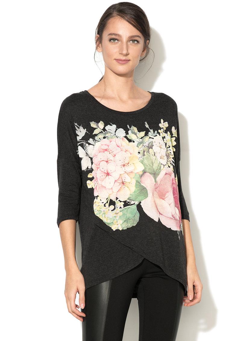 DESIGUAL Bluza cu imprimeu si design suprapus Nati