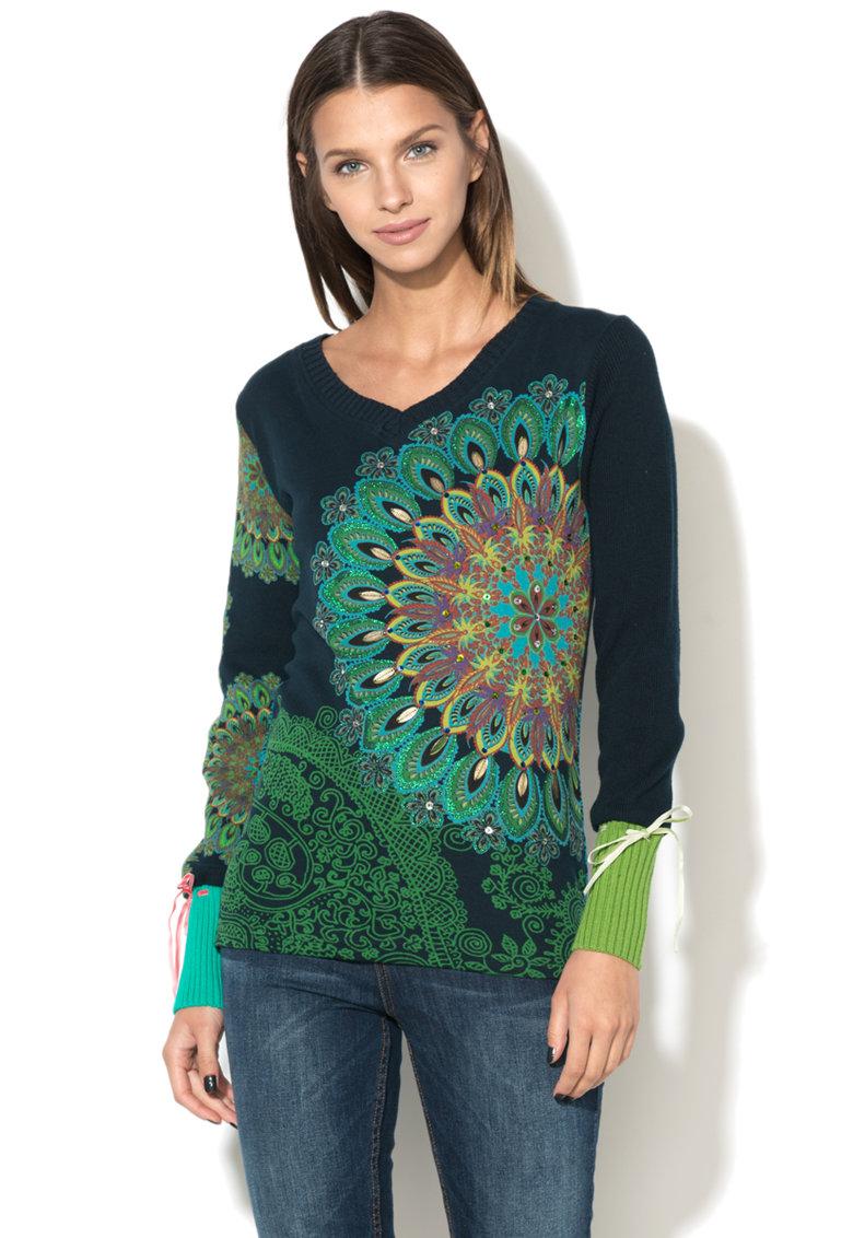 DESIGUAL Bluza cu imprimeu cu maneci tricotate Marin