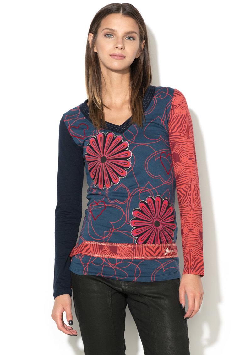 DESIGUAL Bluza cu decolteu in V si model floral Lina