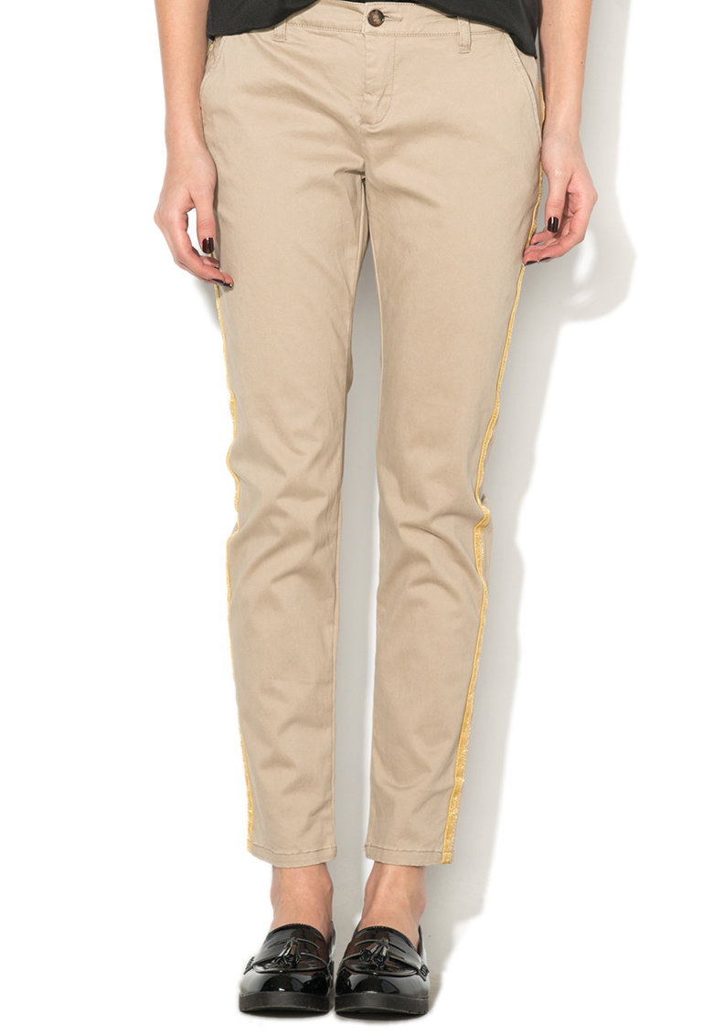 Pantaloni chino cu garnituri tubulare Tricia de la Only