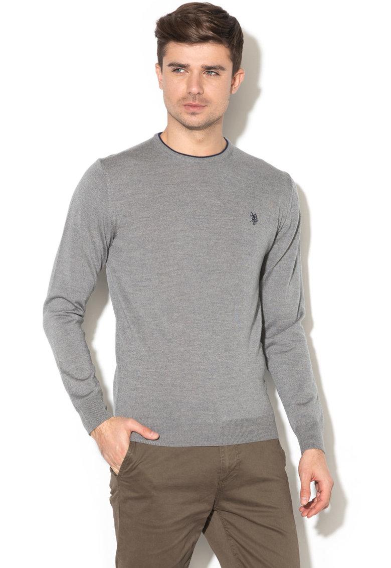 Pulover din tricot fin si lana virgina de la US Polo Assn