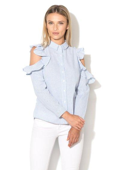 Camasa alb cu albastru in dungi si cu decupaje pe umeri