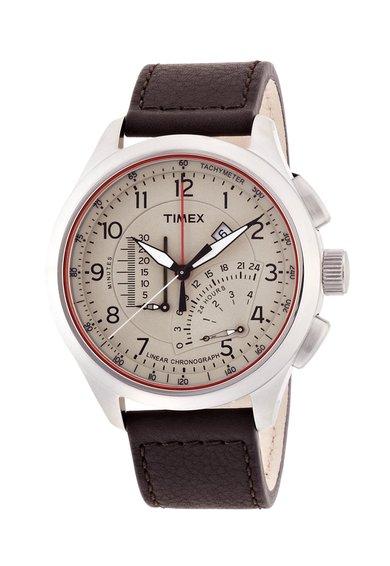 Timex Ceas cronograf argintiu cu maro Intelligent Quartz
