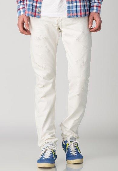 Pepe Jeans London Jeansi conici albi cu aspect deteriorat Barrow