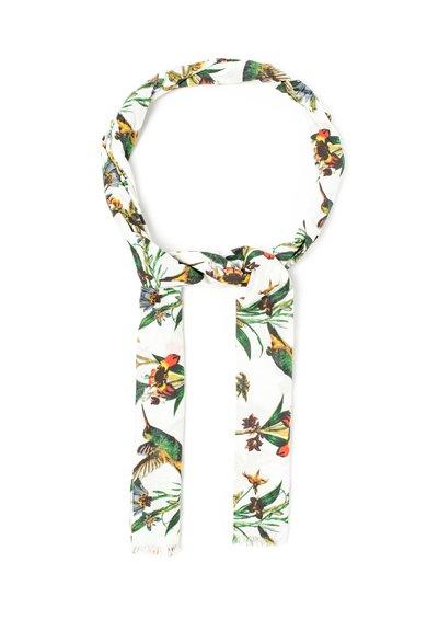 Esarfa cu imprimeu multicolor cu pasari si flori de la Pepe Jeans London