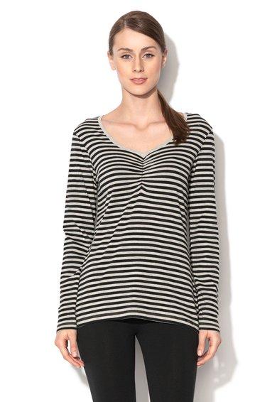 Skiny Bluza de pijama negru cu gri in dungi