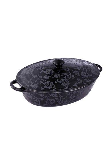 Vas ceramic negru cu capac pentru cuptor de la VABENE