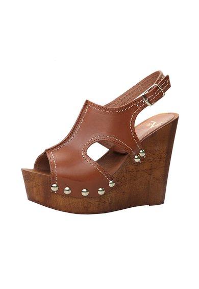 Sandale wedge maro din piele cu decupaje Sveva de la Versace 19.69 Abbigliamento Sportivo