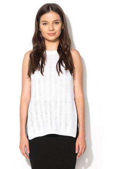 New Look Top asimetric alb tricotat Step