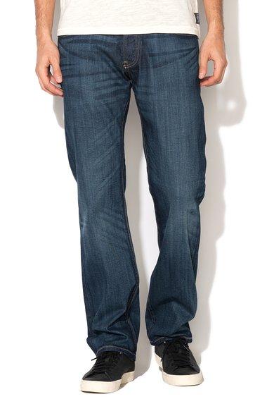Jeansi albastru inchis decolorati cu croiala dreapta Dylan 586 de la Big Star