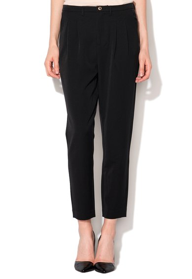 Pantaloni slim fit negri conici Thea