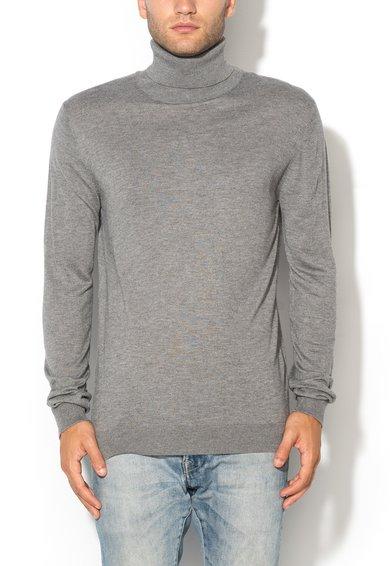 Bluza lunga gri melange cu guler inalt de la United Colors Of Benetton