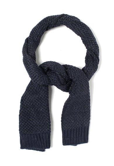Fular tricotat albastru indigo cu fir argintiu Fen