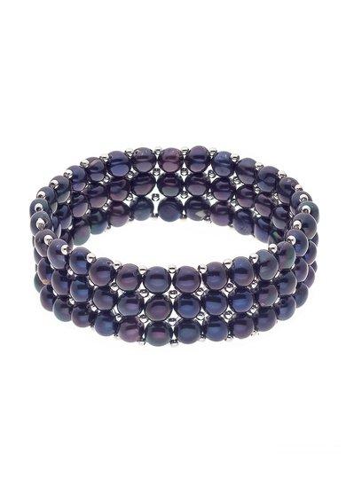 Bratara elastica neagra din perle cu 3 siraguri de la Perles Addict