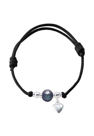 Bratara ajustabila neagra cu perla si inima de la Perles Addict