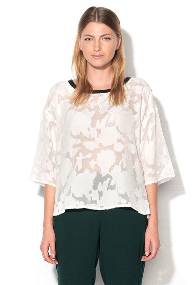 Bluza transparenta alba cu model floral Gabbia