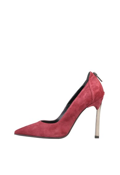Pantofi rosu Bordeaux din piele intoarsa cu fermoar si toc stile de la Versace 1969 Abbigliamento Sportivo
