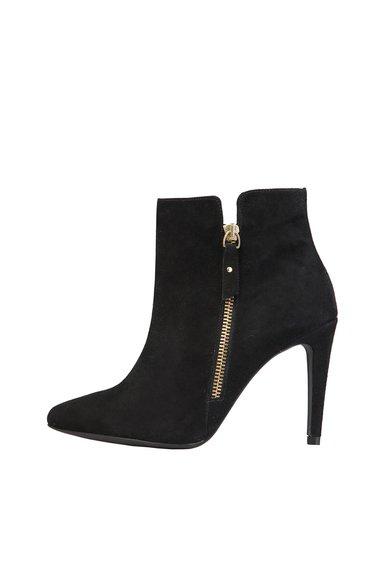 FashionDays.ro: Botine negre din piele intoarsa cu toc stiletto si fermoar Lou Versace 1969 Abbigliamento Sportivo