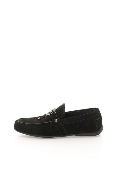 Pantofi loafer negri din piele intoarsa cu logo de la John Galliano