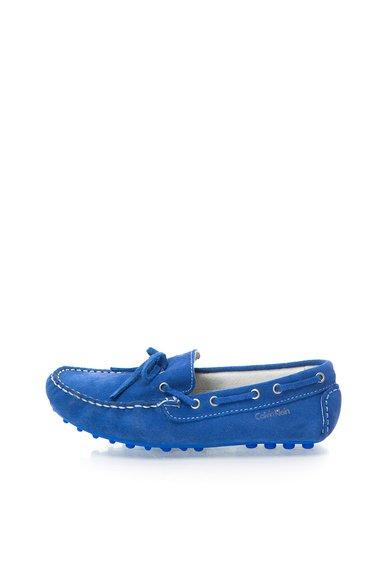 Pantofi boat albastru royal din piele intoarsa Phil