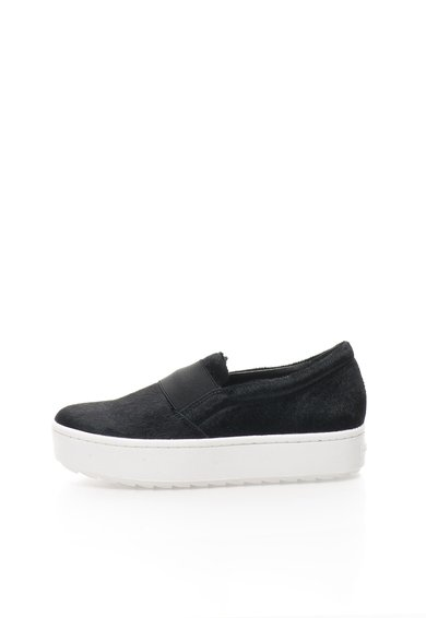FashionDays.ro: Pantofi slip-on negri din piele cu par scurt Reena Rachel Zoe