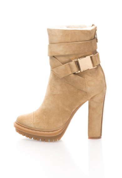 FashionDays.ro: Cizme scurte maro camel din piele intoarsa Nell Rachel Zoe