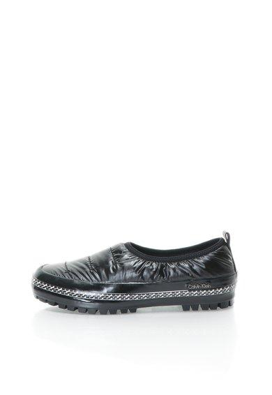 Pantofi slip-on negri cu model matlasat Sybil