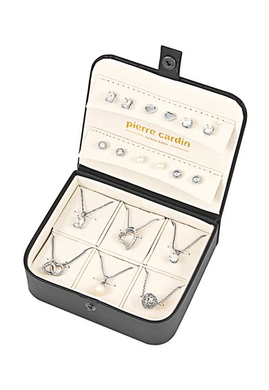 Pierre Cardin Set argintiu de cercei si coliere cu pandantiv – 18 piese