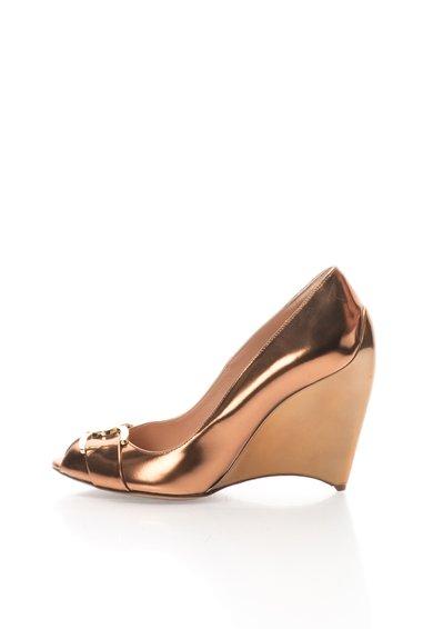 Pantofi maro bronz cu logo metalic Meridienne Furla